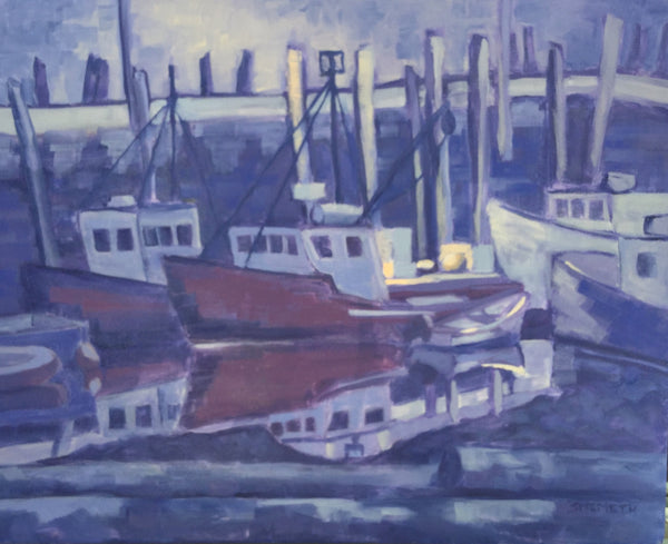 Harbour at Night - Acrylic painting by Martello Alley - Martello Alley