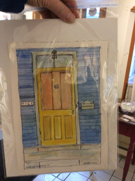 Door on Churchill Street [Portsmouth] - Watercolour by David Dossett - Martello Alley