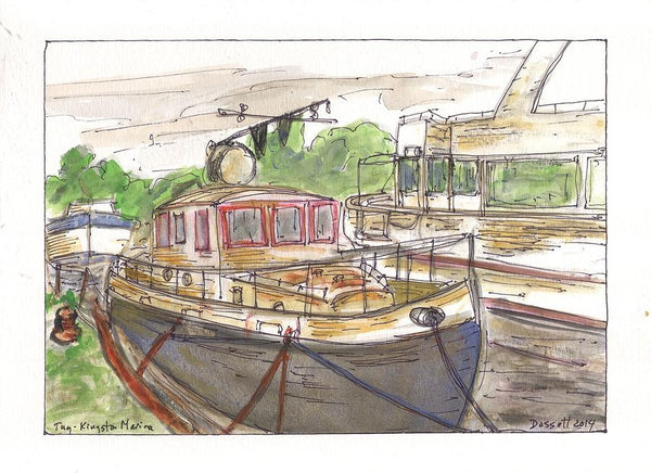 Tug - Kingston Marina - Print by David Dossett - Martello Alley