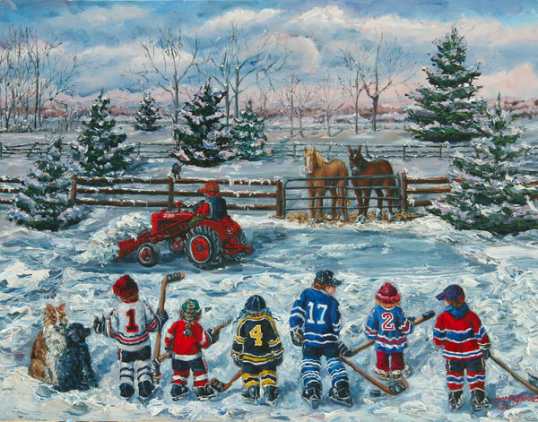 Original Six Lineup 11x 14 matted Reproduction by Joanne Gervais - Print by Joanne Gervais - Martello Alley