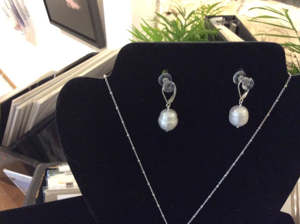 E34 ss and freshwater pearl earrings - Jewellery by Martello Alley - Martello Alley