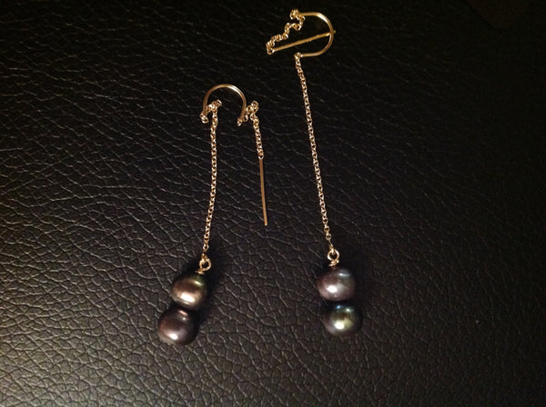E27 14 k gold filled double pearl earring - Jewellery by Martello Alley - Martello Alley