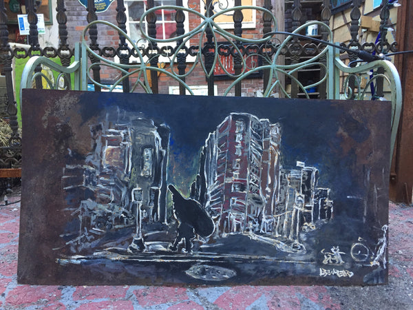 In the City - painting on steel