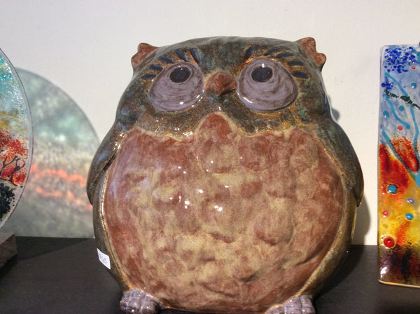 Ceramic- Sitting owl pottery style - Ceramic by Annette Bruneau - Martello Alley