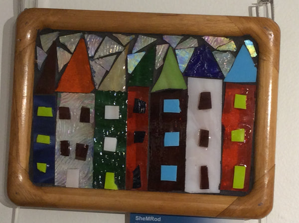 "Framed mosaic glass: ""Row Houses #3"""