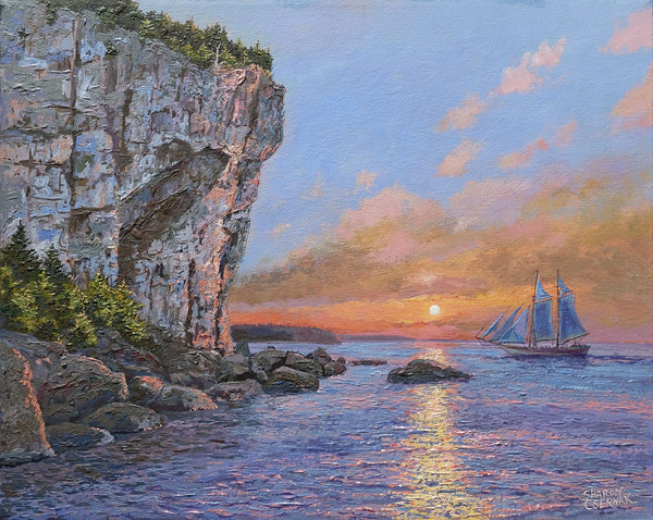 Ciffs at Cave Point. Sharon Csernak giclee print - Print by Sharon Csernak - Martello Alley