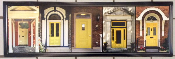 Poster - yellow doors of Kingston 36 x 12 inches - Photos by Nicole Couture-Lord - Martello Alley