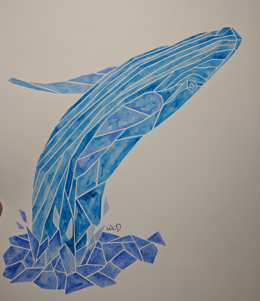 Whale Original - Wesley's Watercolour - Watercolour by Wesley Dossett - Martello Alley