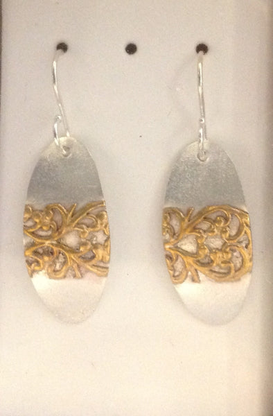 E51 silver and brass earrings - Jewellery by Martello Alley - Martello Alley
