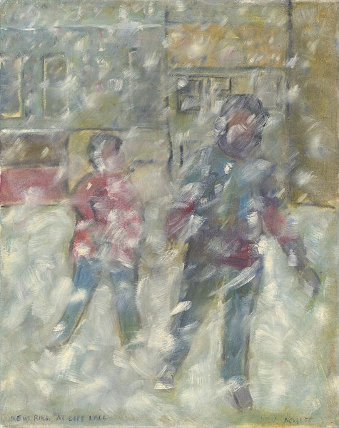 New rink at City Hall (unframed) - 16x20 acrylic and Oil Painting by David Dossett - Martello Alley