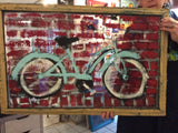 Blue bicycle in the alley on screen - Outdoor art - screen by David Dossett - Martello Alley