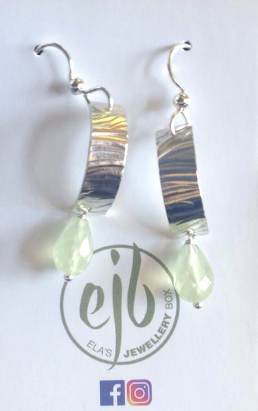 E58 Silver and prehnite - Jewellery by Martello Alley - Martello Alley