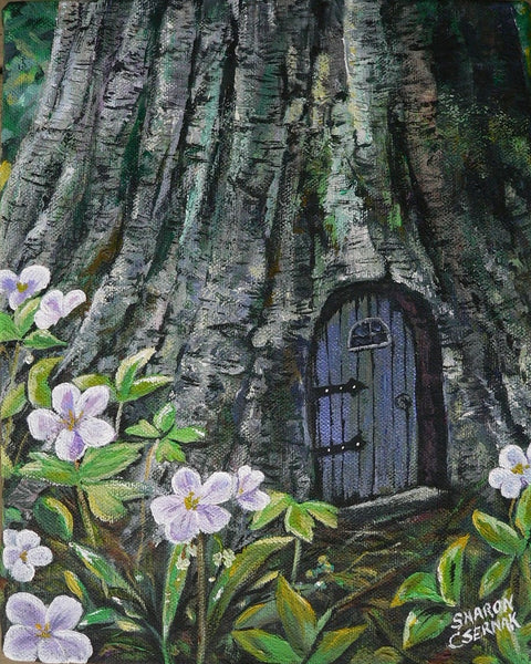 "Sharon Csernak Original painting ""Fairy Home in the Birchwood"" - Original by Sharon Csernak - Martello Alley"