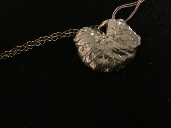 LWN 49 Fine Silver Creeping Charlie leaf - Jewelery by Leslie Welfare - Martello Alley