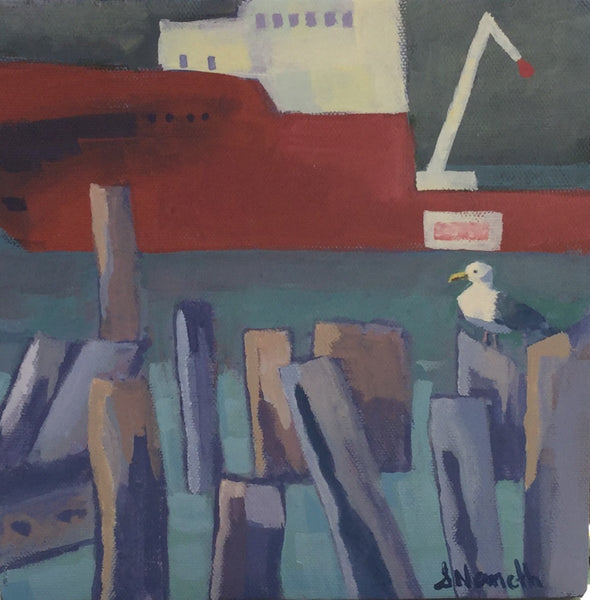 Boat and Seagull - Acrylic Painting by Martello Alley - Martello Alley