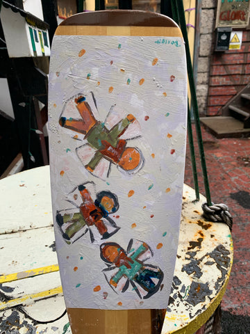 Hand-painted Paddle - Angels in the Snow - Paddle by David Dossett - Martello Alley