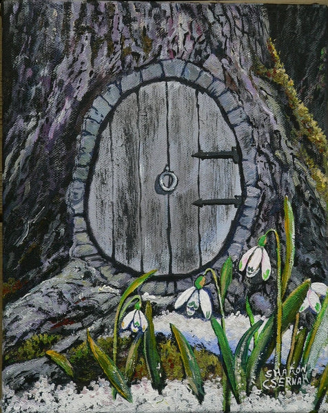 "Sharon Csernak Original painting ""Fairy Doors and Snowdrops"" - Original by Sharon Csernak - Martello Alley"