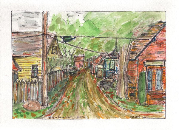 Alley On Union Street - Sketch - Print by David Dossett - Martello Alley