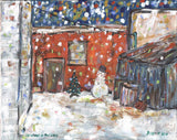 Christmas in the Alley print - Painting by David Dossett - Martello Alley