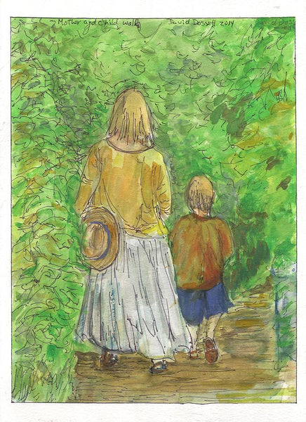 Mother And Child Walk - Print by David Dossett - Martello Alley