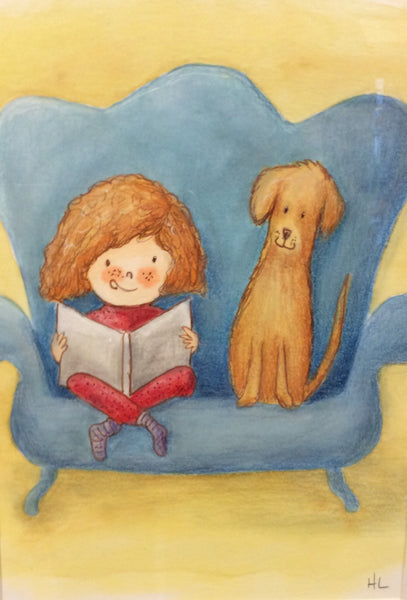 Story Time - Girl & Dog on Couch - Painting by Heidi Larkman - Martello Alley