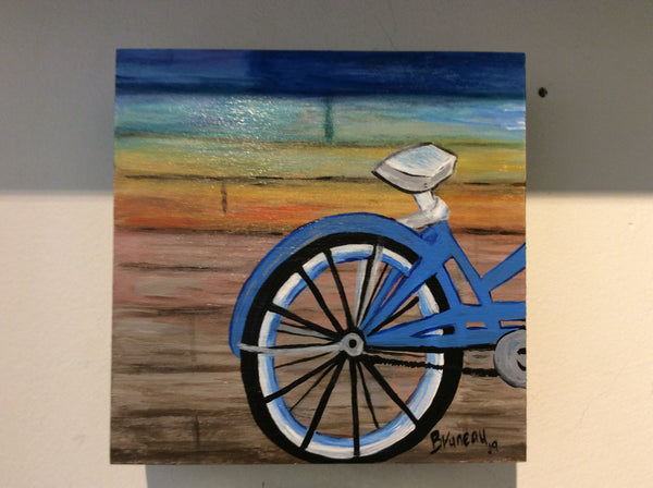 The blue bike - 5x7 acrylic painting by Annette Bruneau - Martello Alley