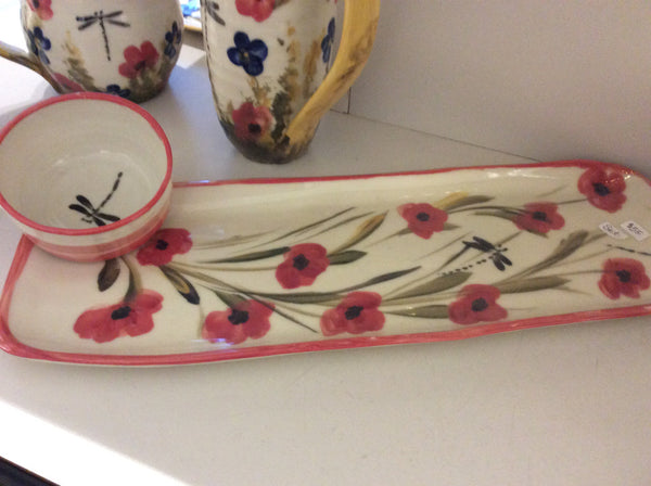 Red Poppies Windmill of Provence- Long tray and dipping bowl set