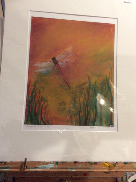 dragonfly dreams - Matted print by Annette Bruneau - Martello Alley