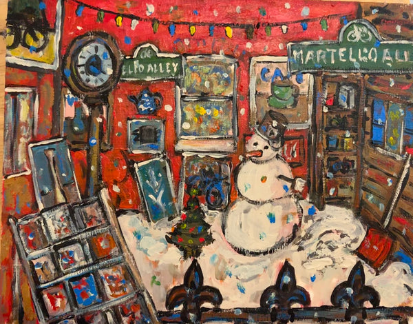 Martello Alley Snowman - painting by David Dossett - Martello Alley