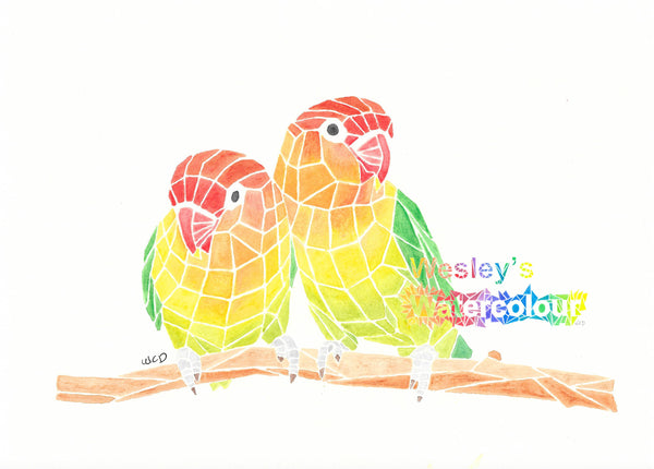 Watercolour Post Card of Two Lovebirds