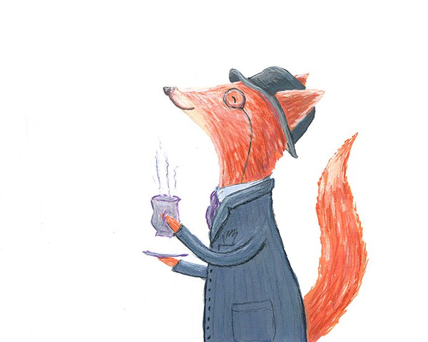 Mr Fox Drinking Tea - Painting by Heidi Larkman - Martello Alley
