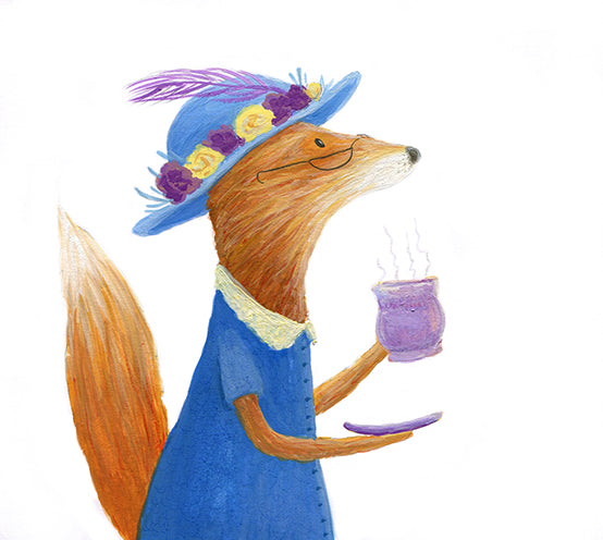 Mrs Fox Drinking Tea - Painting by Heidi Larkman - Martello Alley