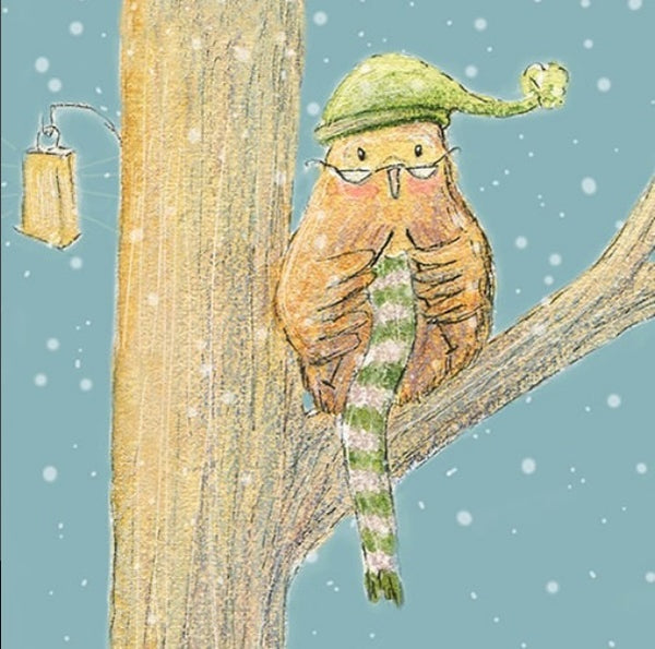 Card- Owl is taking orders for hand knitted scarfs. Guaranteed to keep you warm! - Greeting Card by Heidi Larkman - Martello Alley