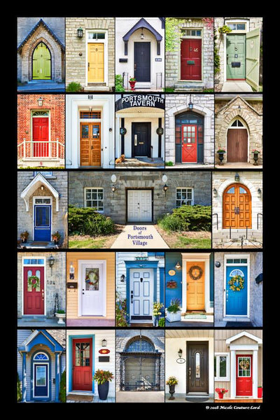 Poster laminated plaque - doors of Portsmouth Village 16 x 24 inches