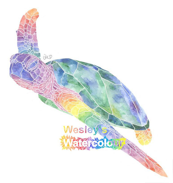 Watercolour Post Card of Rainbow Sea Turtle