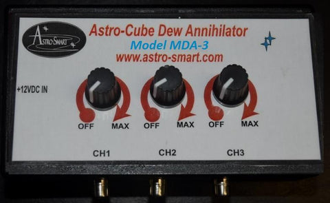 Astro-Smart Three Knob Three Channel Manual Dew Controller 15 amps, with cigar lighter pwr adapter