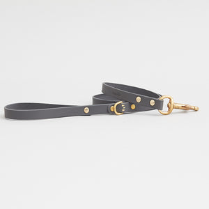 kintails leather dog lead grey thin