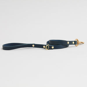 kintails leather dog lead navy thin