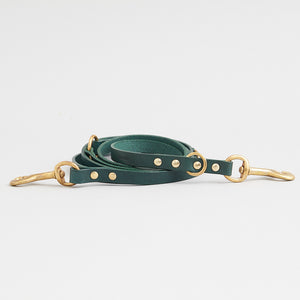 green adjustable leather dog lead is adaptable for all sorts of adventures. At 203cm in length, used long it gives your dog the freedom to roam, while giving you reassurance they're always near.