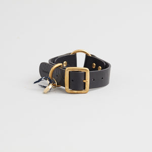 kintails leather dog collar black medium