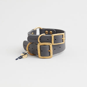 kintails leather dog collar grey group image