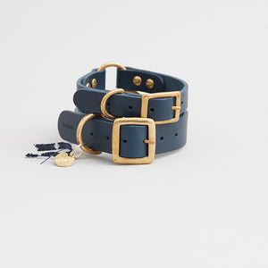 kintails leather dog collar navy group image