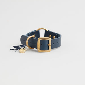 kintails leather dog collar navy medium collar