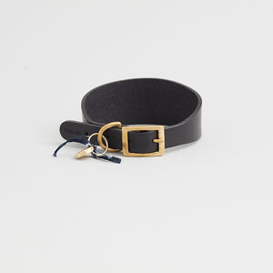 kintails black leather sight hound collar for dogs with long graceful necks such as greyhounds, whippets, Afghans and lurchers, the wider strap is designed to prevent damage to the neck and throat if they pull on the lead
