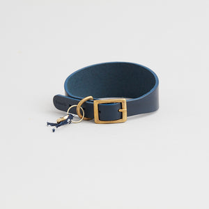 kintails navy leather sight hound collar for dogs with long graceful necks such as greyhounds, whippets, Afghans and lurchers, the wider strap is designed to prevent damage to the neck and throat if they pull on the lead