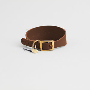 kintails brown leather sight hound collar for dogs with long graceful necks such as greyhounds, whippets, Afghans and lurchers, the wider strap is designed to prevent damage to the neck and throat if they pull on the lead