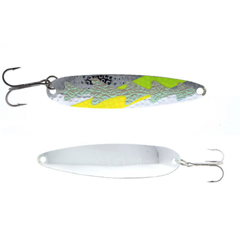 Michigan Stinger Stingray Spoons Silver Hammered Back Yellow UV HUD 4-1/4""