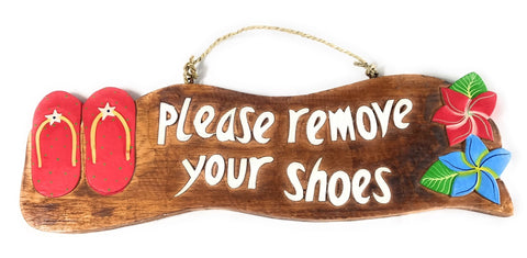 Remove Your Shoes Sign Red