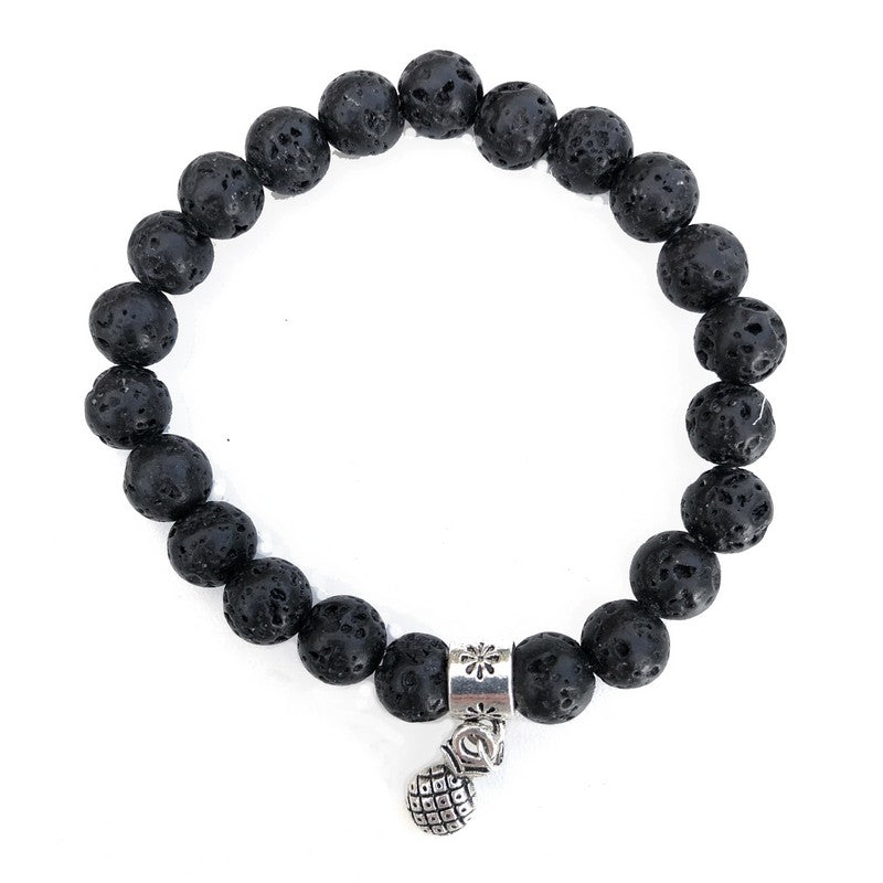 8mm Pineapple Lava Rock Bracelet