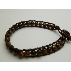 Brown Tiger Eye Beaded Bracelet - Makana Hut